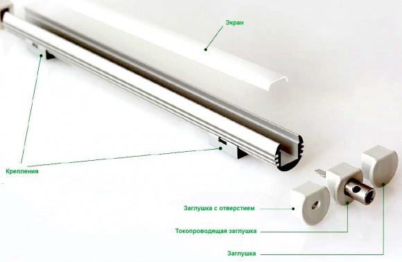 Алюминиевый профиль в полном комплекте для установки диодов